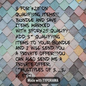 3 for $25 on Qualifying Items!